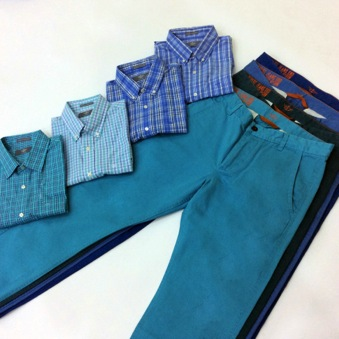 Modern Classic Tops with Alpha Khakis in various Blues